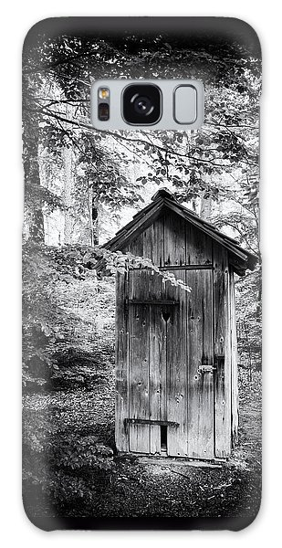Outhouse In The Forest Black And White Galaxy Case