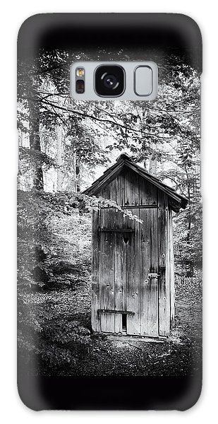 Outhouse In The Forest Black And White Galaxy Case by Matthias Hauser