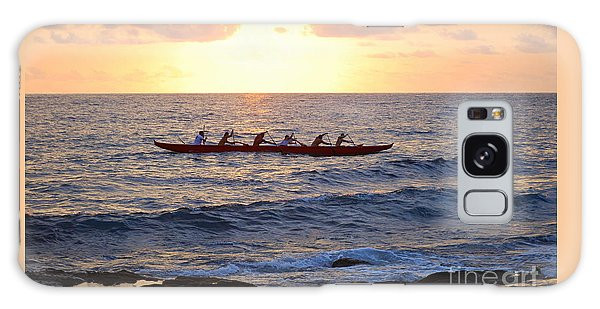 Outrigger Canoe At Sunset In Kailua Kona Galaxy Case
