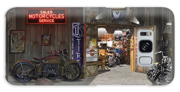 Outside The Motorcycle Shop Galaxy Case by Mike McGlothlen