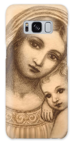Oval Madonna Drawing Galaxy Case