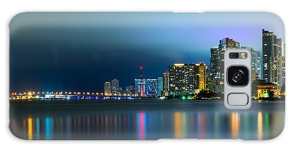 Overcast Miami Night Skyline Galaxy Case by Andres Leon