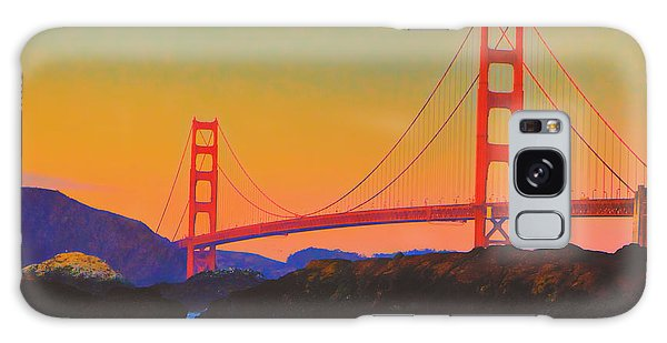 Pacific Sunset - Golden Gate Bridge And Moonrise Galaxy Case