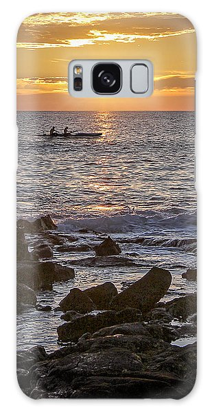 Paddlers At Sunset Portrait Galaxy Case