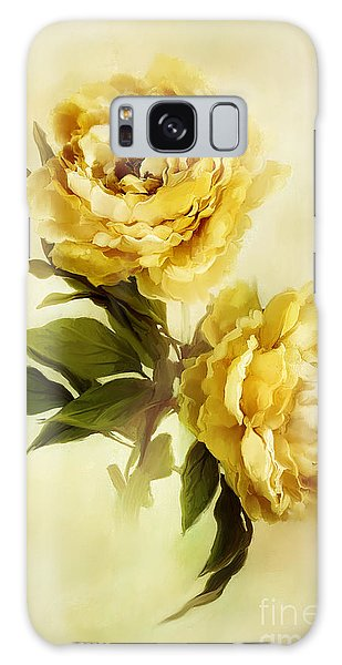 Painted Peonies Galaxy Case by Stephanie Frey