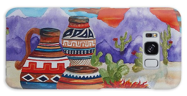 Painted Pots And Chili Peppers Galaxy Case by Ellen Levinson