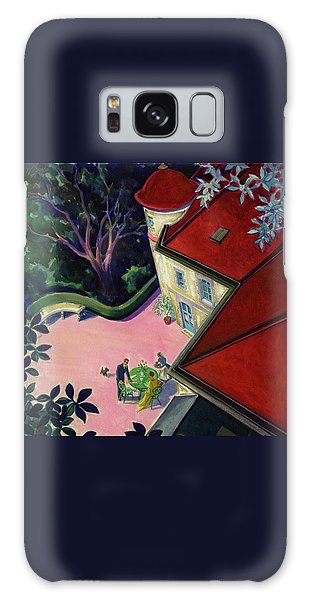 Painting Of A House With A Patio Galaxy Case