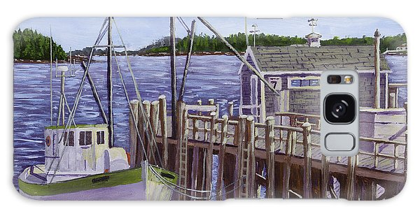Fishing Boat Docked In Boothbay Harbor Maine Galaxy Case by Keith Webber Jr