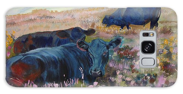 Painting Of Three Black Cows In Landscape Without Sky Galaxy Case