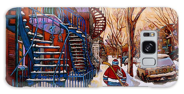 Paintings Of Montreal Beautiful Staircases In Winter Walking Home After The Game By Carole Spandau Galaxy Case