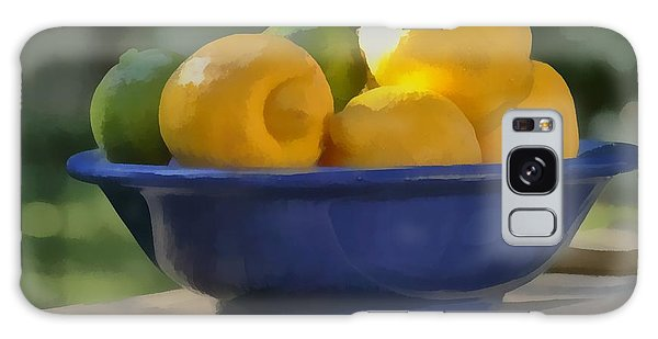 Paintlike Lemons And Limes In Blue Bowl Galaxy Case