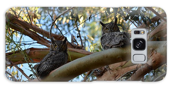Pair Of Great Horned Owls Galaxy Case