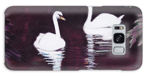 Pair Of White Swans Swimming Galaxy Case