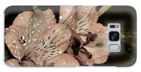 Pale Pink Lilies On Dark Background Galaxy Case