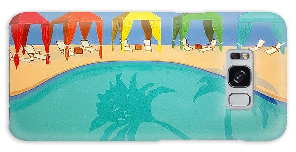 Palm Shadow Cabanas Galaxy Case by Karyn Robinson