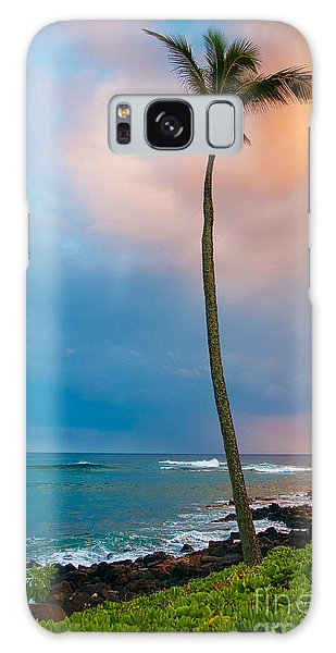 Palm Tree At Sunset. Galaxy Case