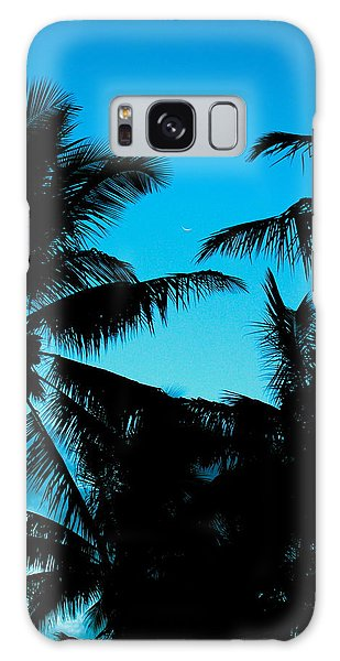 Palms At Dusk With Sliver Of Moon Galaxy Case