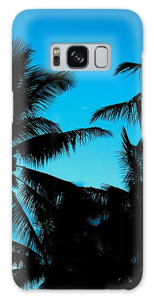 Palms At Dusk With Sliver Of Moon Galaxy Case by Lehua Pekelo-Stearns