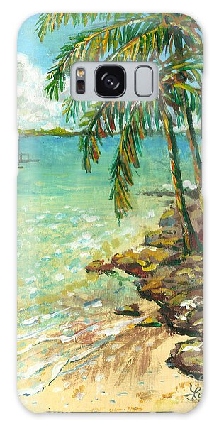 Palms On Point Of Rocks Galaxy Case by Lou Ann Bagnall