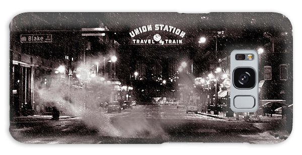 Panorama Of Denver Union Station During Snow Storm Galaxy Case