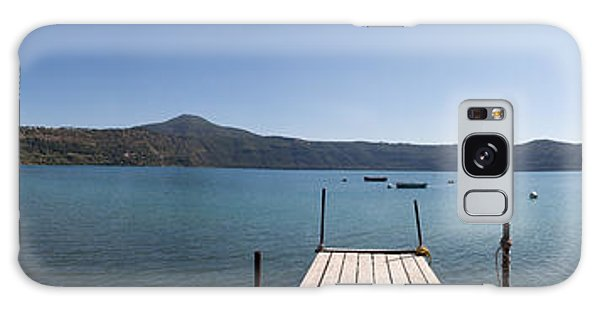 panorama of Lake Albano including pontoon and red rowing boat Galaxy Case