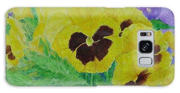 Pansies Colorful Flowers Floral Garden Art Painting Bright Yellow Pansy Original  Galaxy Case