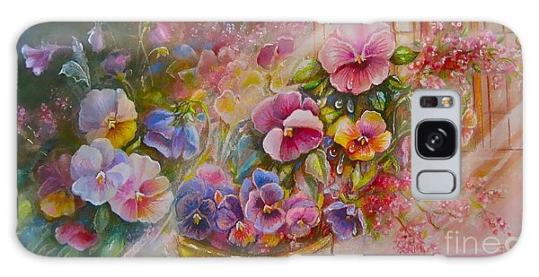 Pansies In Gold Galaxy Case