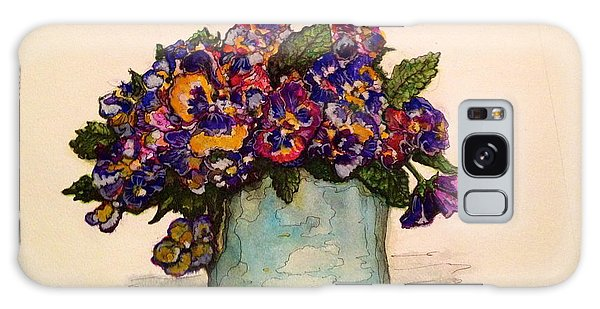 Pansies Galaxy Case by Rae Chichilnitsky