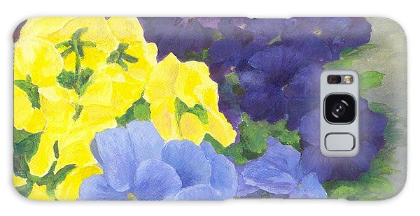 Pansy Garden Bright Colorful Flowers Painting Pansies Floral Art Artist K. Joann Russell Galaxy Case