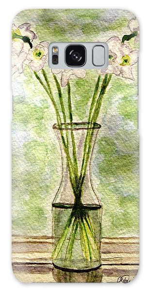 Paper Whites In Sunlight Galaxy Case by Angela Davies