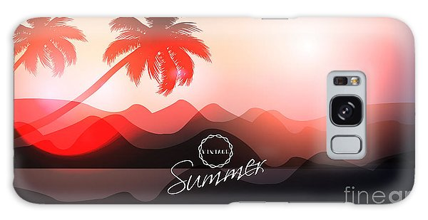 Glow Galaxy Case - Paradise Island-palm Tree Sunset by Alessandram