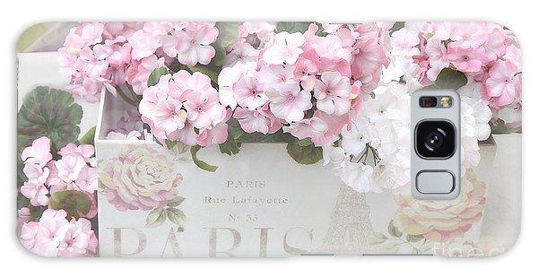 Paris Pink Flowers, Parisian Shabby Chic Paris Flower Box - Paris Floral Decor Galaxy Case