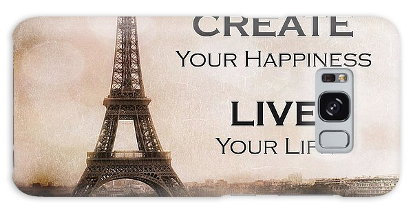 Paris Eiffel Tower Sepia Photography - Paris Eiffel Tower Typography Life Quotes Galaxy Case