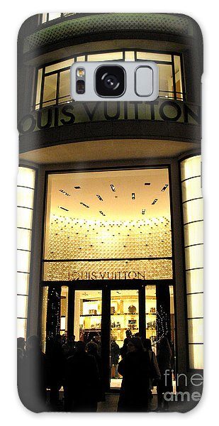 Paris Louis Vuitton Boutique Store Front - Paris Night Photo Louis Vuitton - Champs Elysees  Galaxy Case