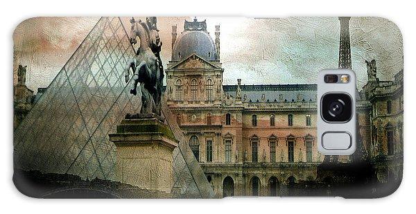 Paris Louvre Museum Pyramid Architecture - Eiffel Tower Photo Montage Of Paris Landmarks Galaxy Case