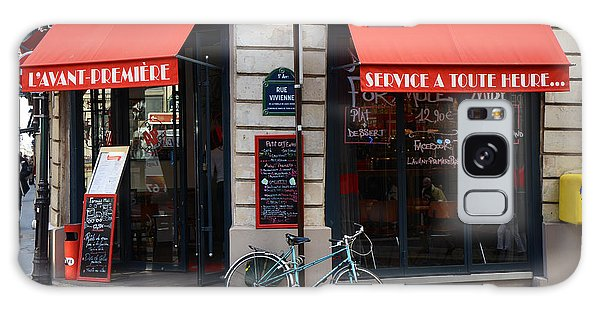Street Cafe Galaxy Case - Paris Red Canopies And Bicycle Street Photography - Paris In Red Street Corner Photography  by Kathy Fornal