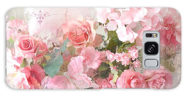 Paris Shabby Chic Dreamy Pink Peach Impressionistic Romantic Cottage Chic Paris Flower Photography Galaxy Case
