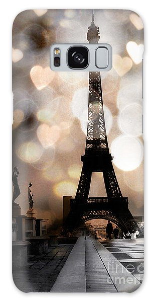 Paris Surreal Fantasy Sepia Black Eiffel Tower Bokeh Hearts And Circles - Paris Eiffel Tower Hearts  Galaxy Case