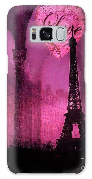 Paris Romantic Pink Fantasy Love Heart - Paris Eiffel Tower Valentine Love Heart Print Home Decor Galaxy Case