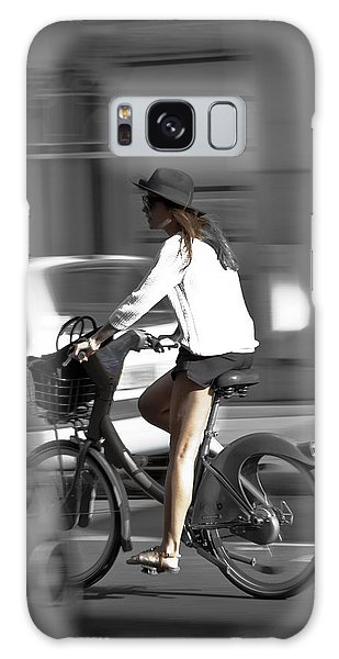 Parisian Girl Cyclist Galaxy Case