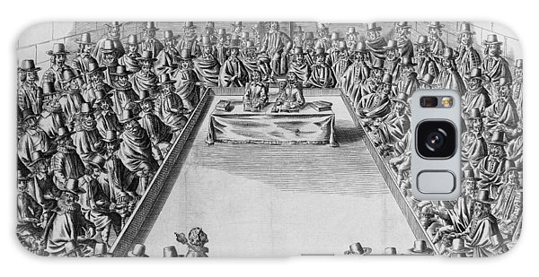 Houses Of Parliament Galaxy Case - Parliament During The Commonwealth, 1650 Engraving Bw Photo by French School