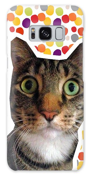 Tabby Galaxy Case - Party Animal - Smaller Cat With Confetti by Linda Woods