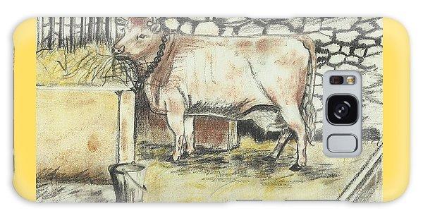 Cow In A Barn Galaxy Case