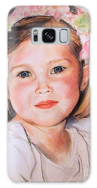Pastel Portrait Of Girl With Flowers In Her Hair Galaxy Case