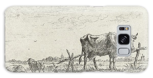 Pasture Galaxy Case - Pasture With Cows And Sheep, Print Maker Johannes Janson by Johannes Janson