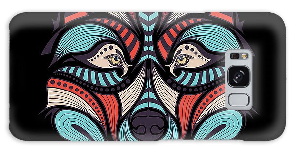 T-shirts Galaxy Case - Patterned Colored Head Of The Wolf by Sunny Whale