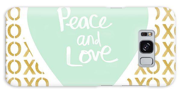 Heart Galaxy Case - Peace And Love In Aqua And Gold by Linda Woods
