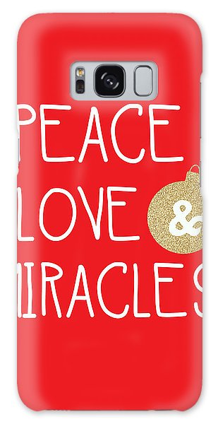 Woods Galaxy Case - Peace Love And Miracles With Christmas Ornament by Linda Woods