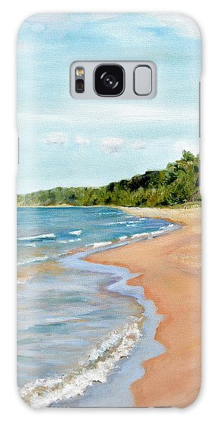 Peaceful Beach At Pier Cove Galaxy Case