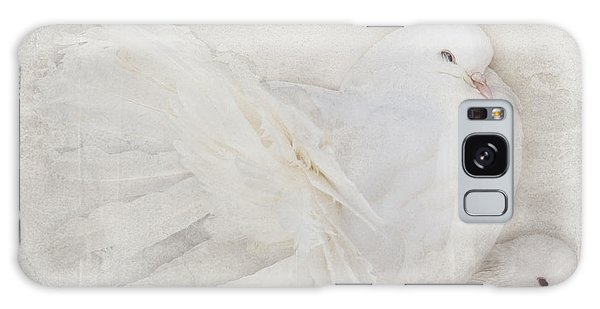 Peaceful Existence White On White Galaxy Case by Barbara McMahon